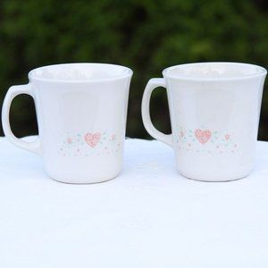 Corning forever yours pink heart mugs